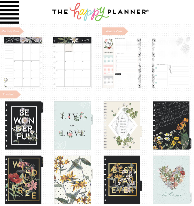 Vintage Botanical 2019-2020 Deluxe Happy Planner (18 Months) Page Layouts and Dividers