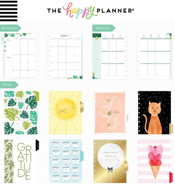 Happy Illustrations 2019 - 2020 Medium Happy Planner (18 Months) Page Layouts and Dividers