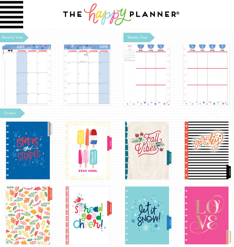Happy Year 2019 - 2020 Medium Happy Planner Page Templates and Dividers