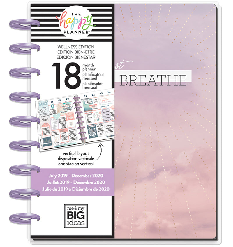 Wellness 2019 - 2020 Medium Happy Planner (18 Months) Cover with Tab