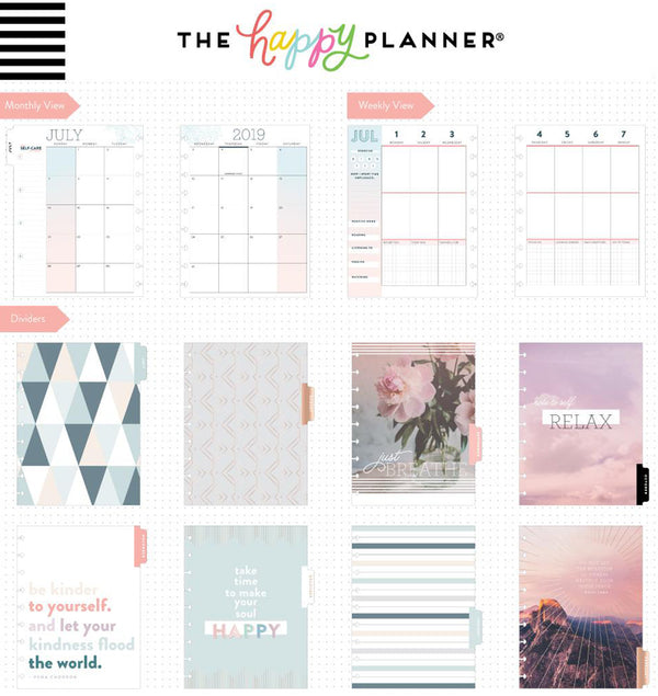 Wellness 2019 - 2020 Medium Happy Planner (18 Months) Page Layouts and Dividers