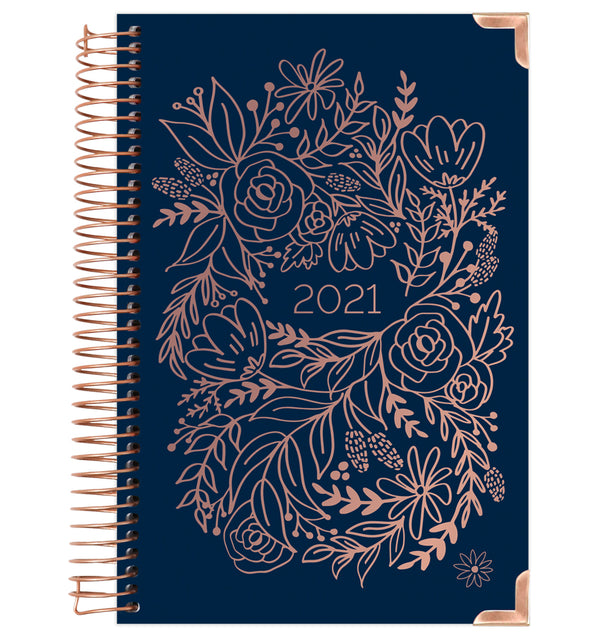 Navy Embroidery 2021 Hard Cover Daily Planner