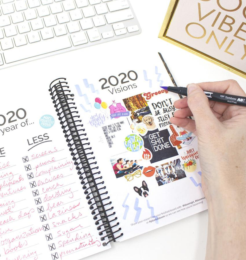 Bloom Black Hard Cover 2020 Daily Planner Vision Page