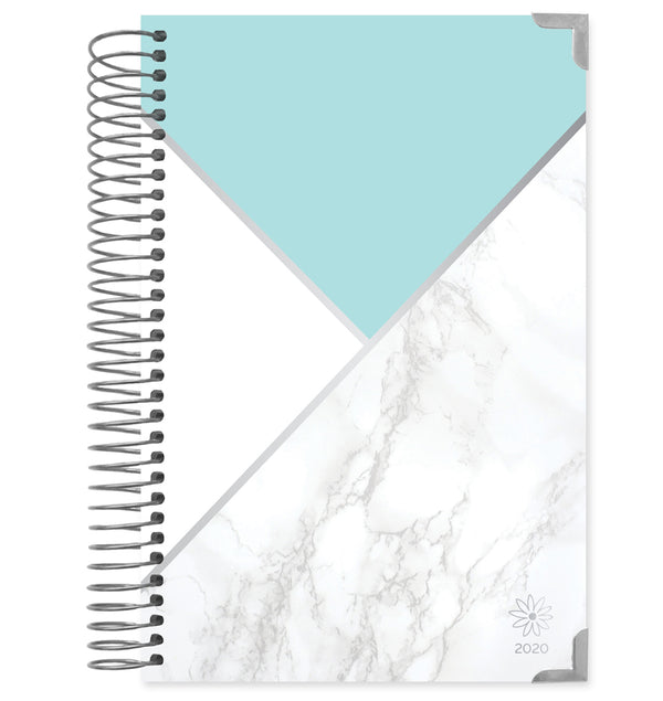 Bloom Mint Blocking Marble Hard Cover 2020 Daily Planner (12 Months)