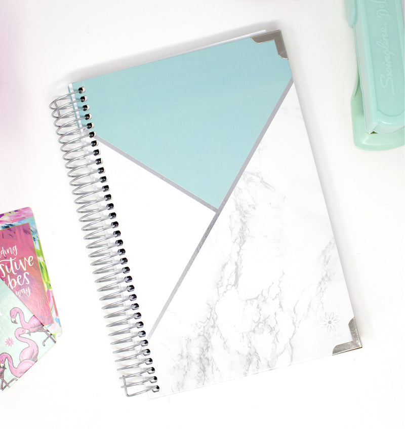 Bloom Mint Blocking Marble Hard Cover 2020 Daily Planner (12 Months) Display