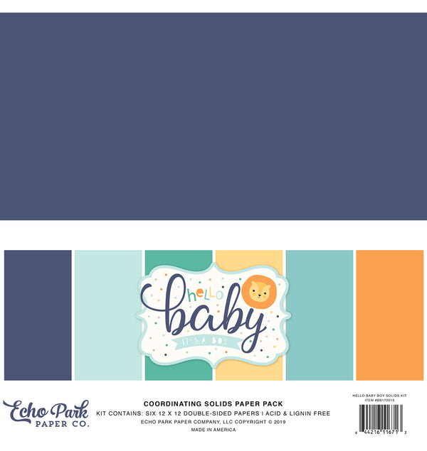 "Echo Park Hello Baby Boy Solid Kit, 12""x12"" Cardstock Paper"