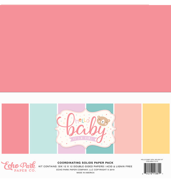 "Echo Park Hello Baby Girl Solid Kit, 12""x12"" Solid Cardstock Paper"