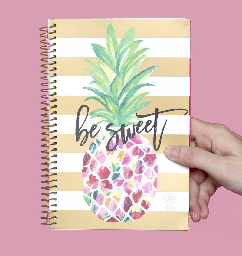 Holding a Bloom Be Sweet Pineapple 2020 Soft Cover Planner