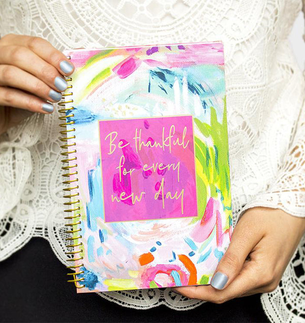 Holding a Be Thankful For Every New Day 2019-2020 Bloom Soft Cover Daily Planner