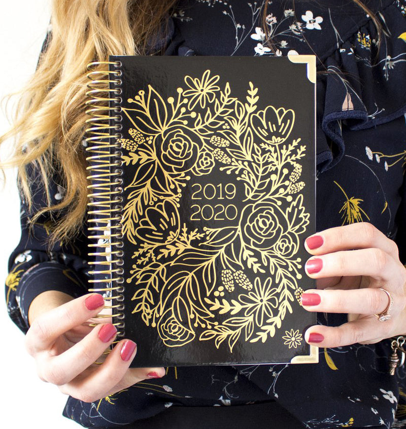 Holding a Gold Embroidery 2019-2020 Bloom Hard Cover Daily Planner
