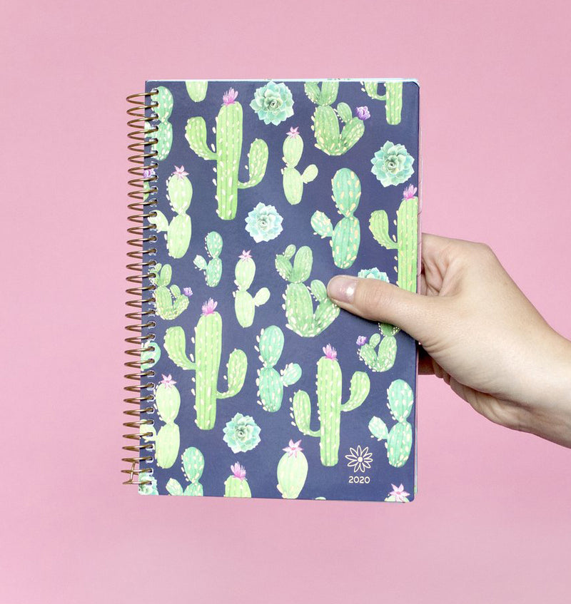 Holding a Bloom Navy Cacti 2020 Soft Cover Daily Planner