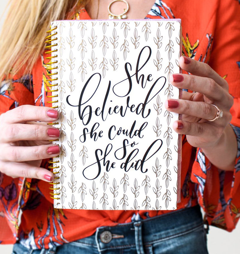 Holding a Writefully His 2019-2020 Bloom Soft Cover Daily Planner