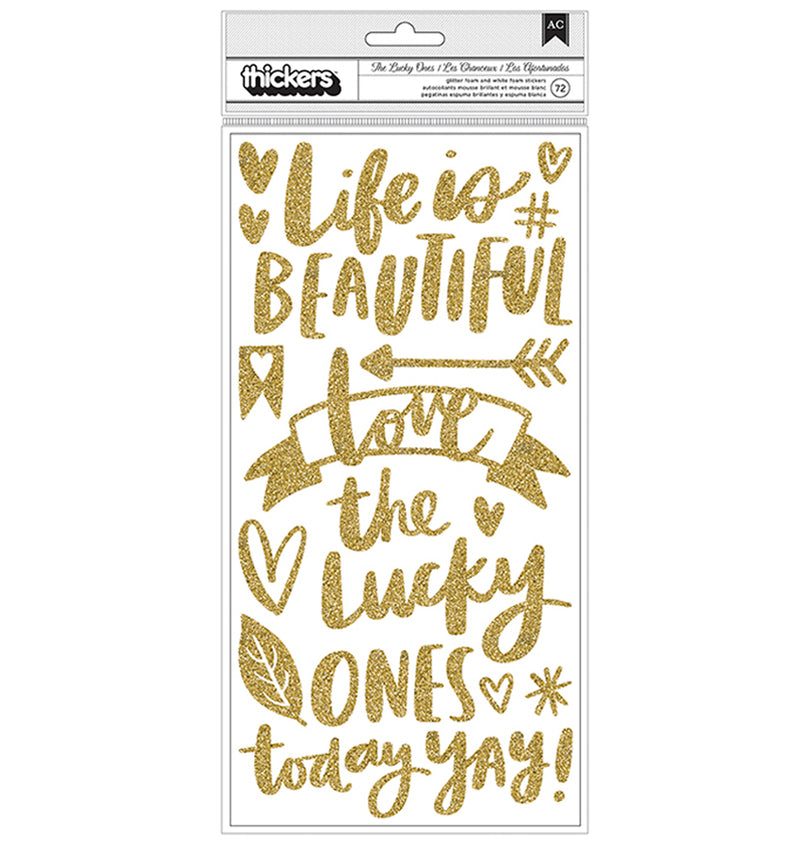 Hustle and Heart Gold Glitter Phrase Thickers