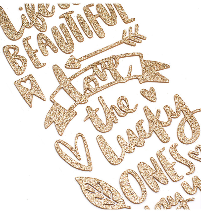 Hustle and Heart Gold Glitter Phrase Thickers Close Up