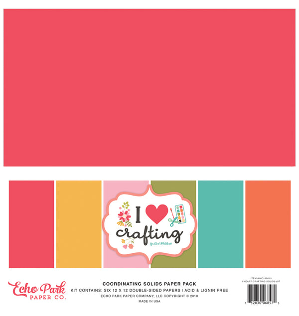 Echo Park I Love Crafting 12x12 Solid Paper Pack Kit Cover