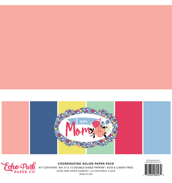 Echo Park I am Mom Solid Kit, 12x12 Solid Cardstock Paper