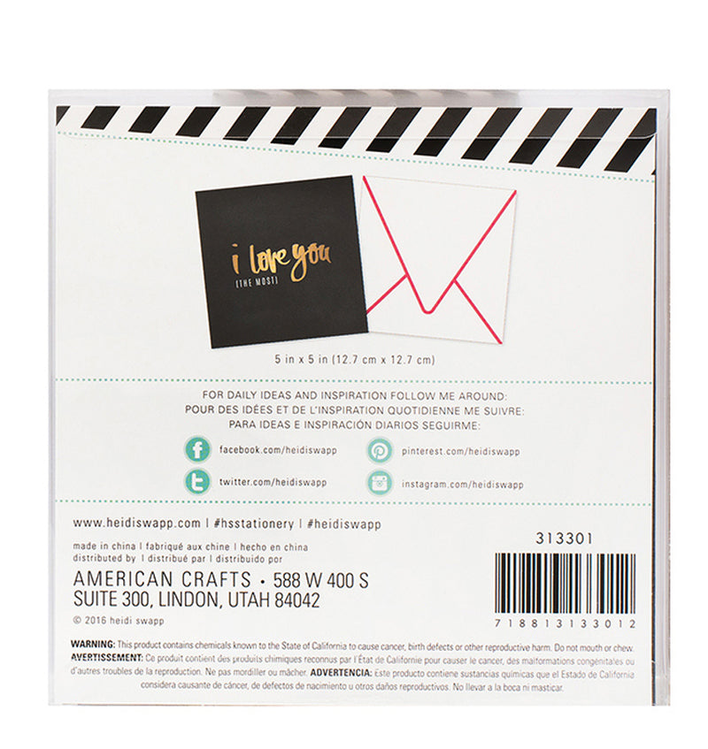 Heidi Swapp I Love You The Most Square Cards 4pcs Back