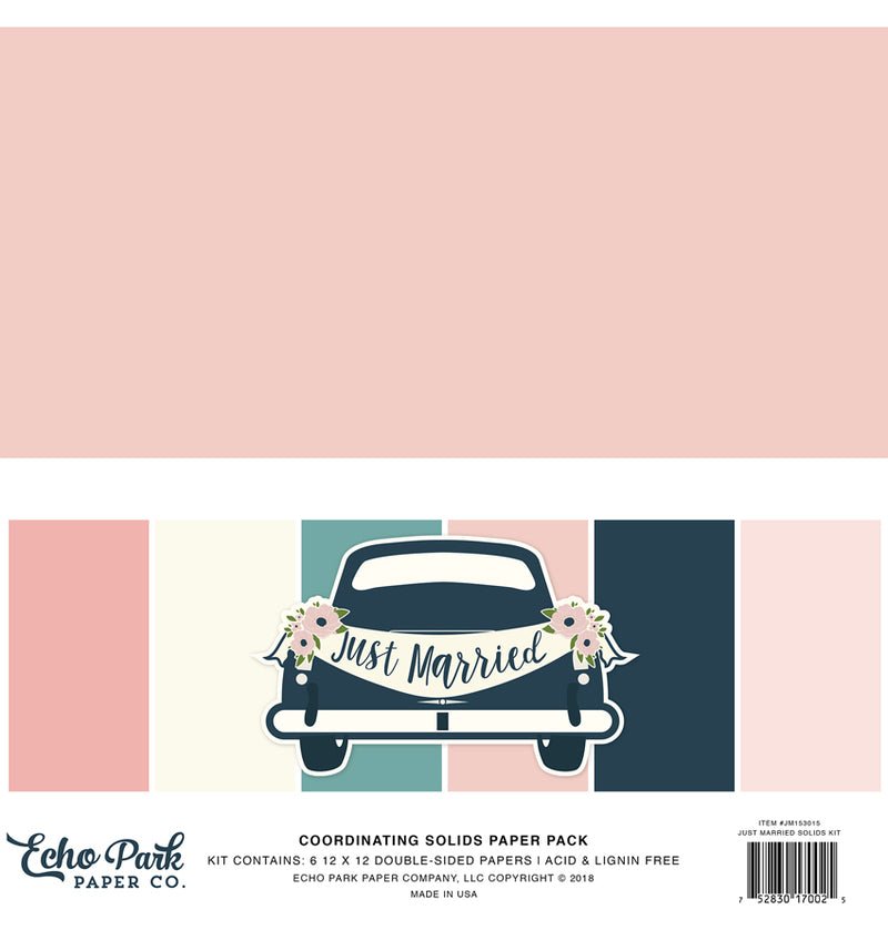 "Echo Park Just Married Solid Kit, 12""x12"" Cardstock Paper Cover"