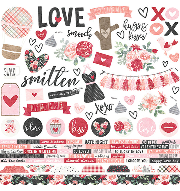 Simple Stories Kissing Booth Collection Kit, 12x12 Sticker Sheet
