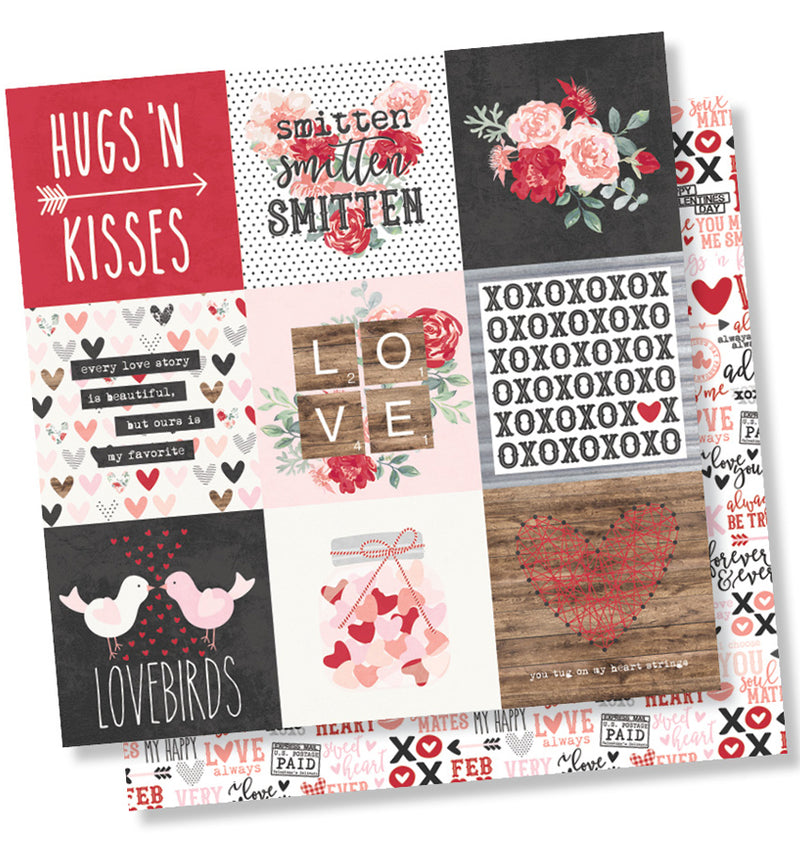 Simple Stories Kissing Booth Collection Kit, 3x4 Journaling Element 12x12 Paper Design