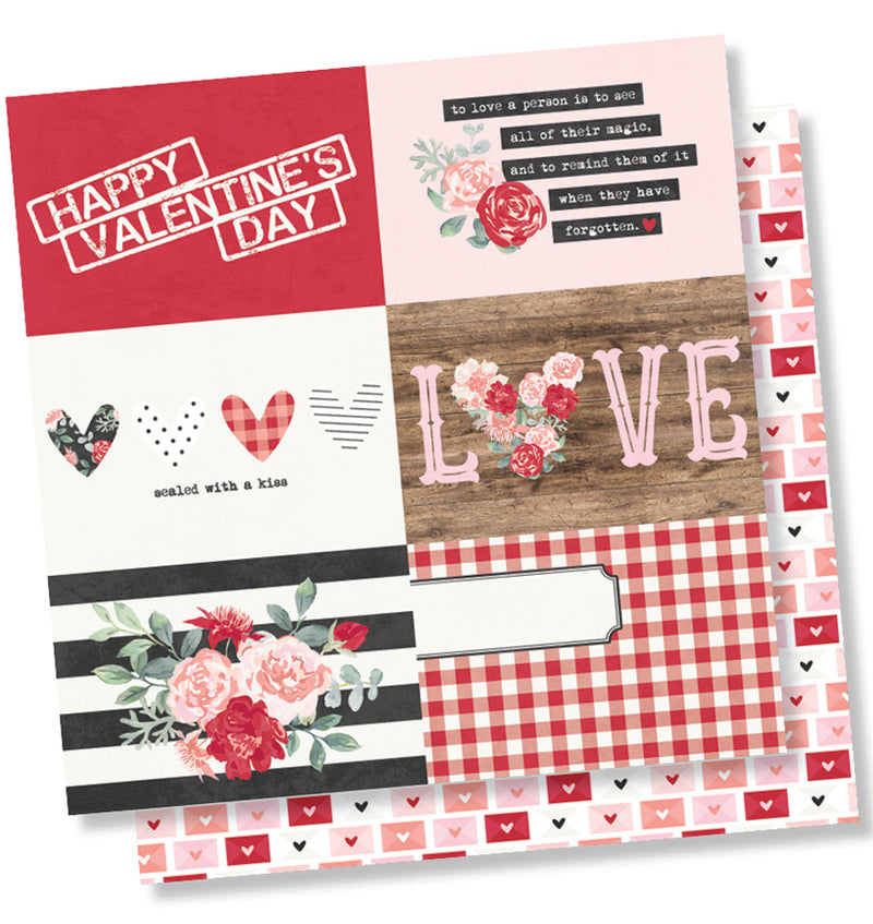Simple Stories Kissing Booth Collection Kit, 4x6 Horizontal Element 12x12 Paper Design