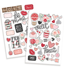 Simple Stories Kissing Booth Puffy Stickers 57pcs
