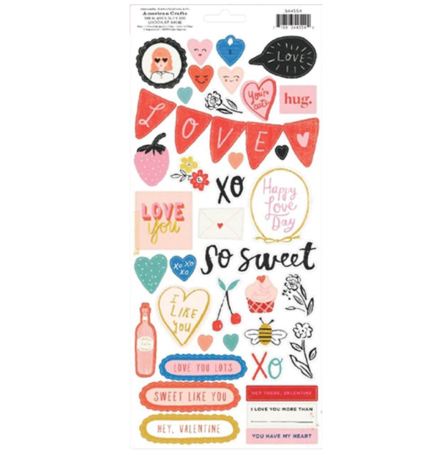 Crate Paper La La Love Cardstock Stickers Back