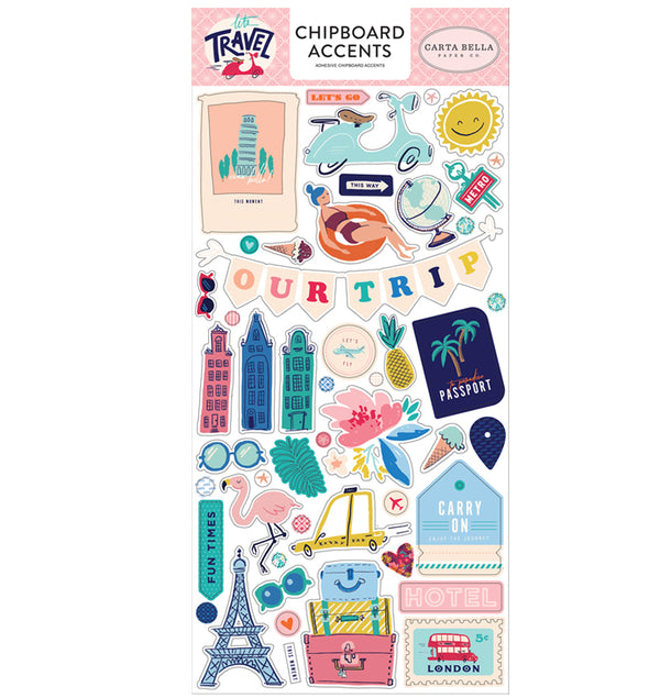 Echo Park Let's Travel Chipboard Accents Stickers