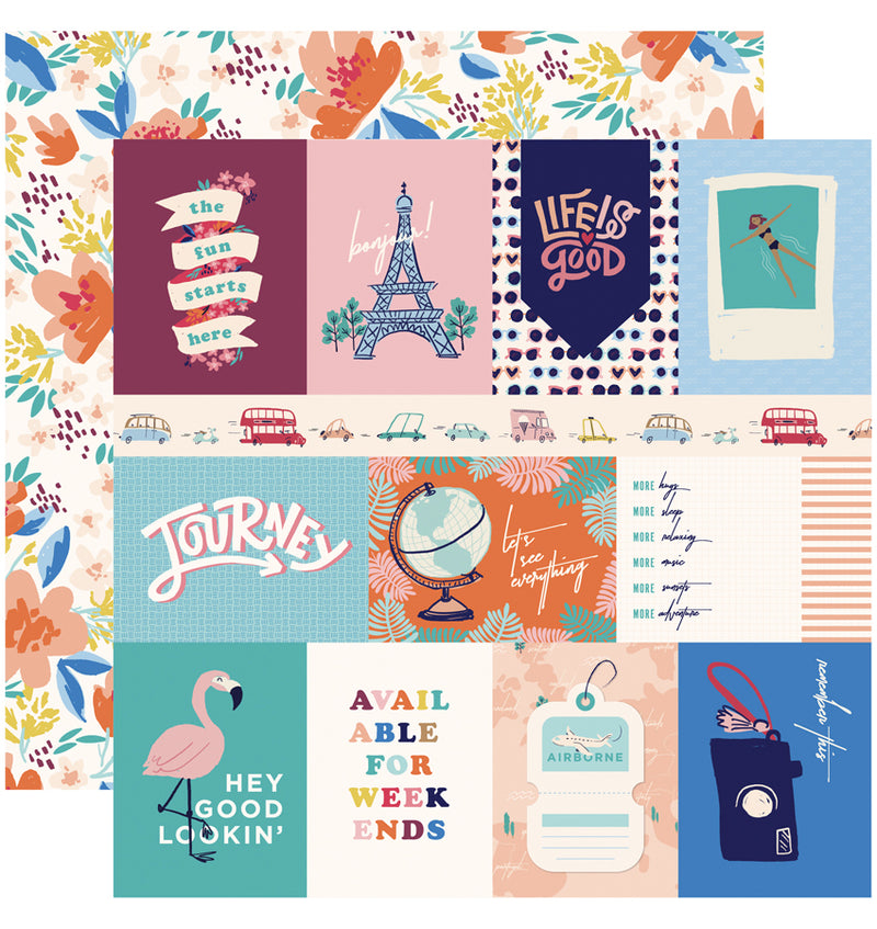 Carta Bella Let's Travel Collection Kit, 3x4 Journaling Cards Paper