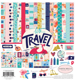 Carta Bella Let's Travel Collection Kit, 12x12 Patterned Paper & Sticker Sheet