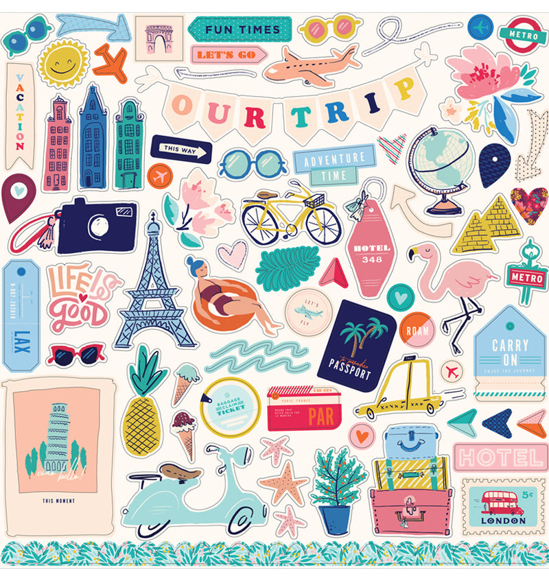 Carta Bella Let's Travel Collection Kit, 12x12 Sticker Sheet