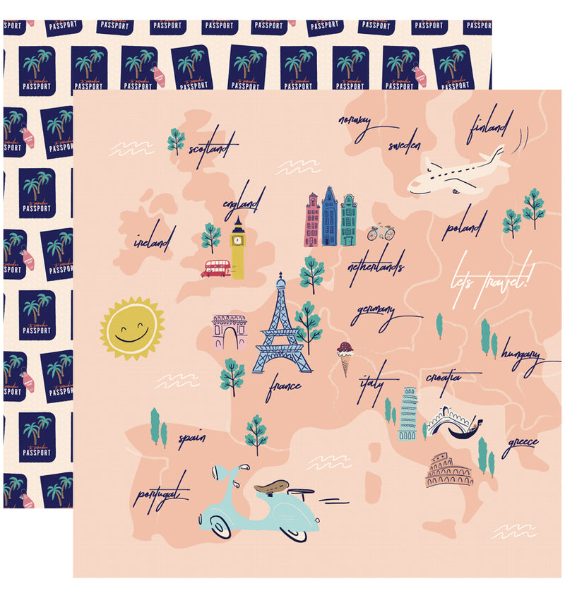 Carta Bella Let's Travel Collection Kit, 12x12 Travel Map Paper