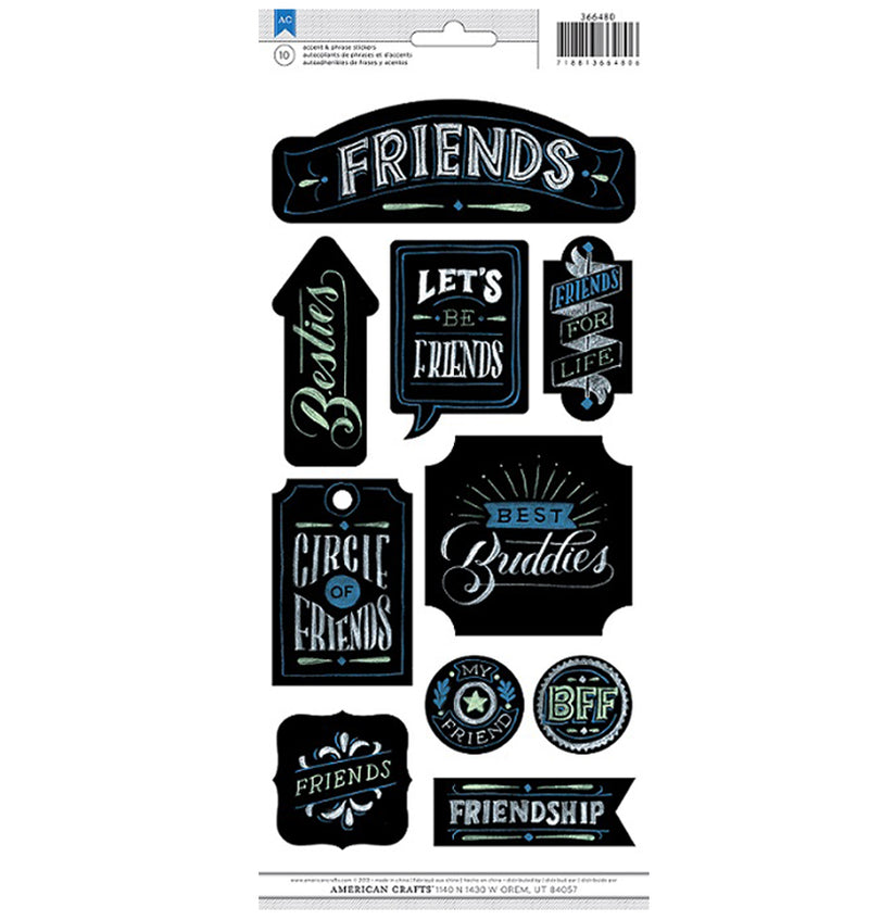 Chalkboard Friends BFF Stickers American Crafts