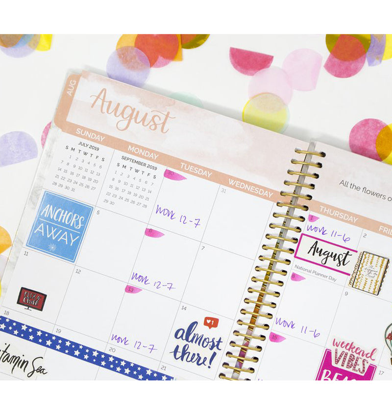 Marble 2019-2020 Bloom Soft Cover Daily Planner Monthly View