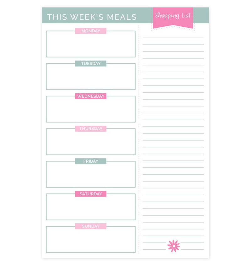"Meal Planning Pad with Magnets, 6"" x 9"" Pink & Blue"
