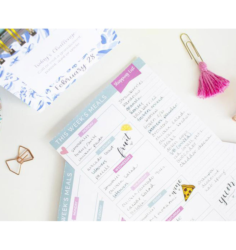 "Meal Planning Pad with Magnets, 6"" x 9"" Pink & Blue, Sample with Wordings"