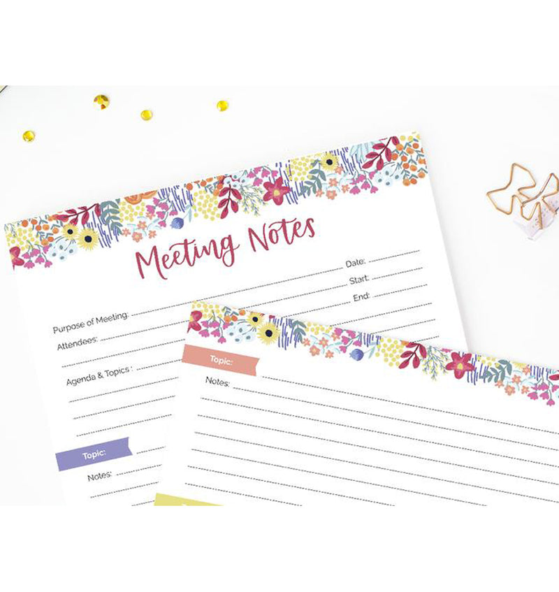 "Bloom's Meeting Notes Planning Pad 8.5"" x 11"" Double Sided (60 Sheets) Top Section"