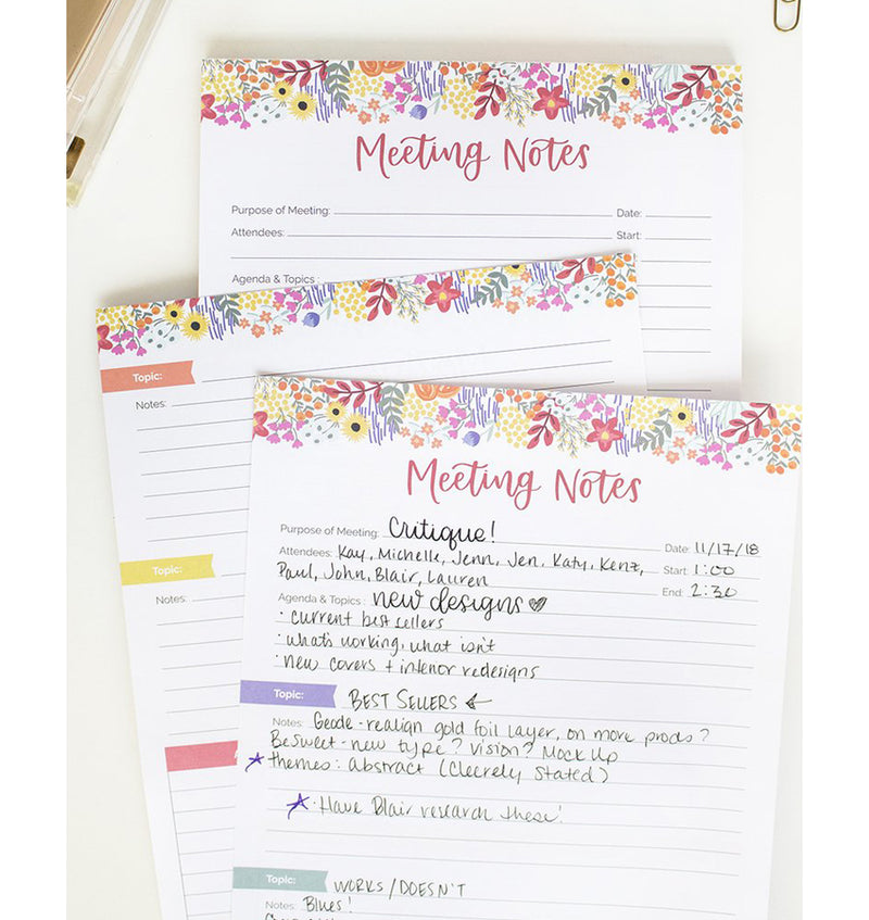 "Bloom's Meeting Notes Planning Pad 8.5"" x 11"" Double Sided (60 Sheets) Designs"