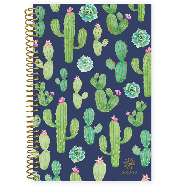 Navy Cacti 2019-2020 Bloom Soft Cover Daily Planner