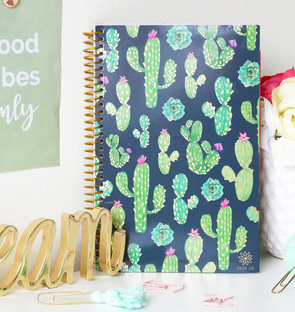 Navy Cacti 2019-2020 Bloom Soft Cover Daily Planner Cover