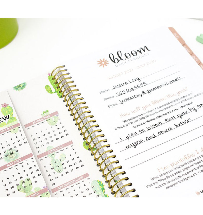 Navy Cacti 2019-2020 Bloom Soft Cover Daily Planner Cover Pages