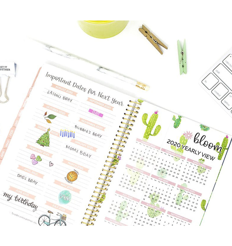 Navy Cacti 2019-2020 Bloom Soft Cover Daily Planner Important Dates