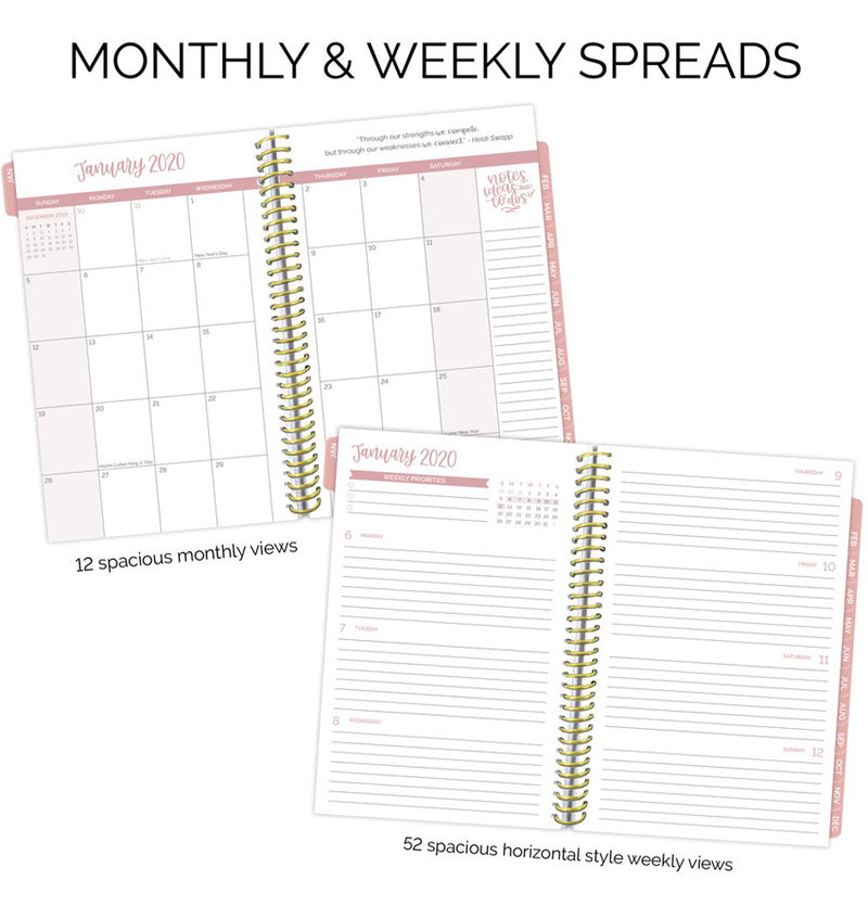 Bloom Navy Cacti 2020 Soft Cover Daily Planner Monthly & Weekly Spreads
