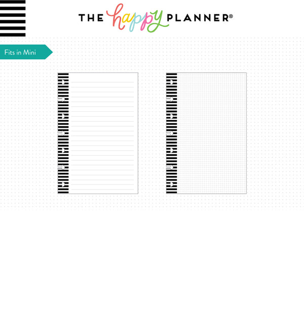 Note Lined & Graph Paper (Mini Happy Planner) Page Layout