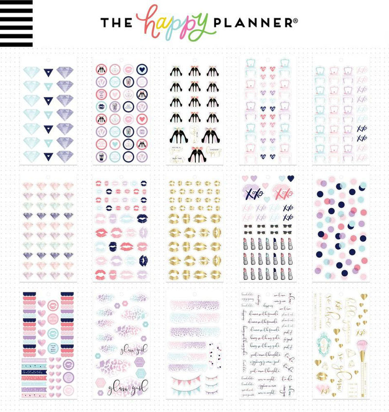Mini Glam Girl Planner Sticker Pack (975pcs) Design One