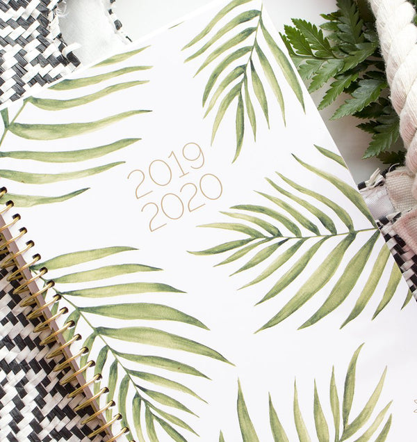 Palm Leaves 2019-2020 Bloom Soft Cover Daily Planner Cover Close Up