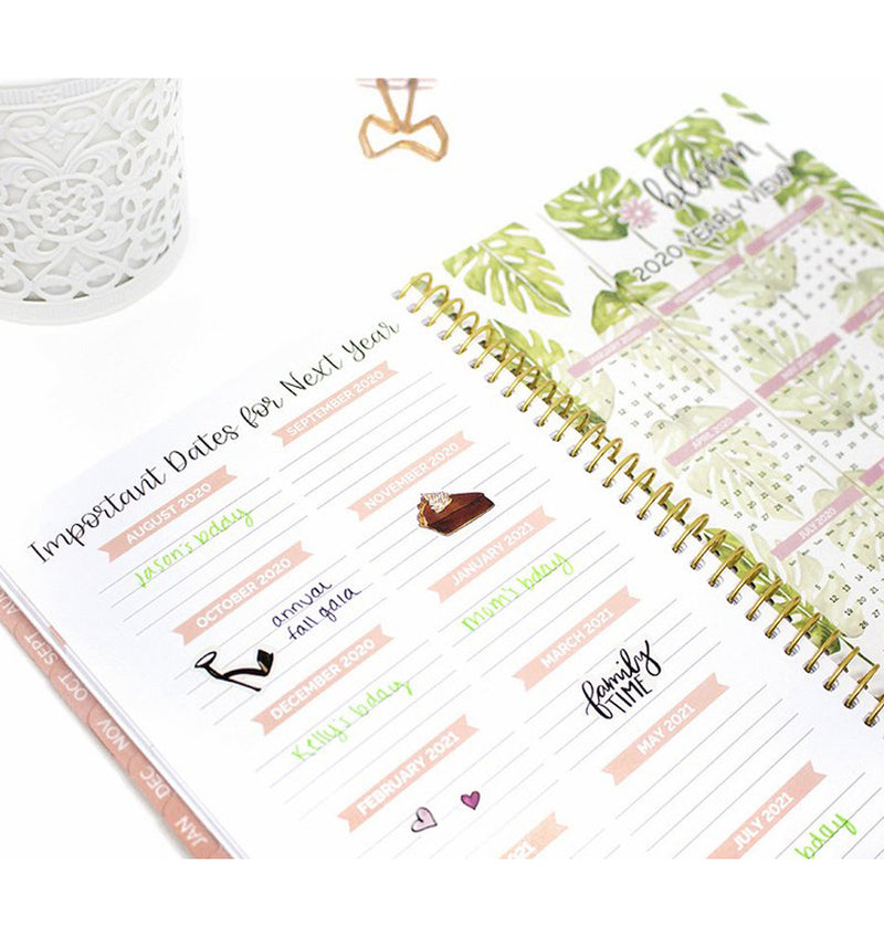 Palm Leaves 2019-2020 Bloom Soft Cover Daily Planner Important Dates
