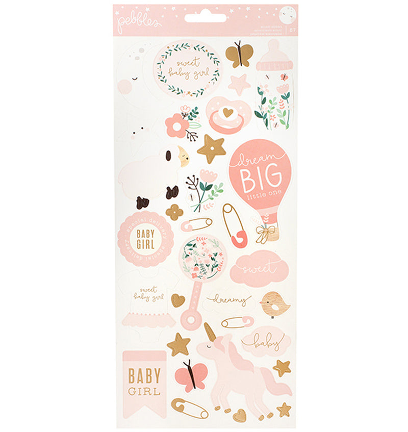 Pebbles Baby Girl Foil Accents Stickers