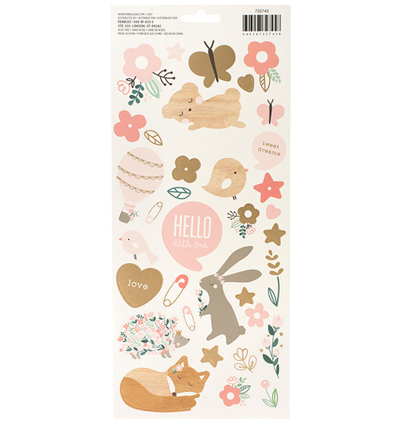 Pebbles Baby Girl Foil Accents Stickers Back