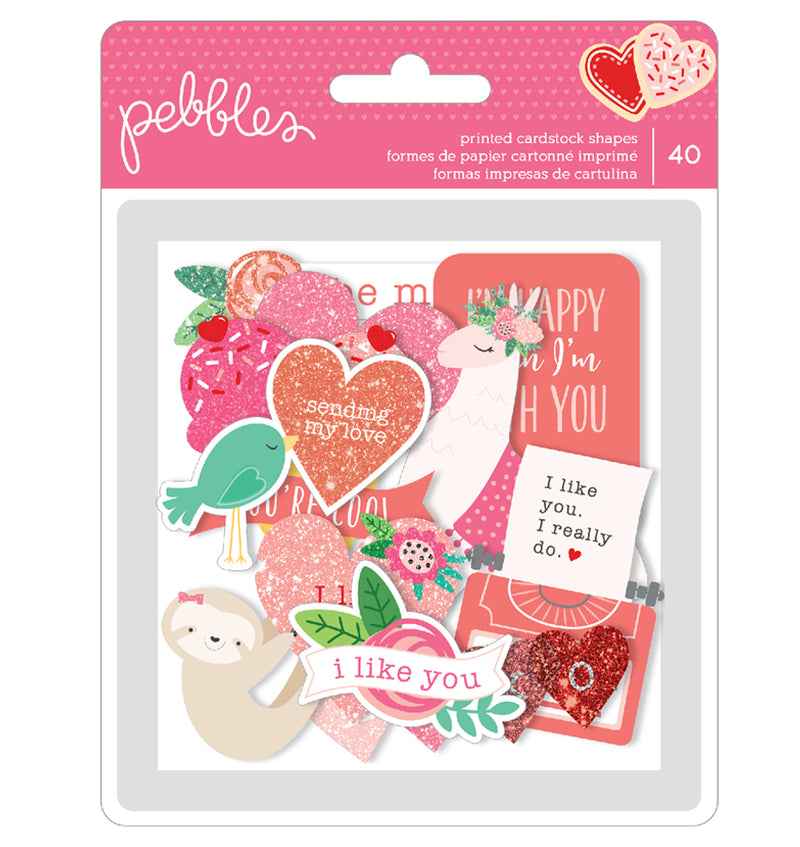Pebbles Loves Me Ephemera with Glitter Accents